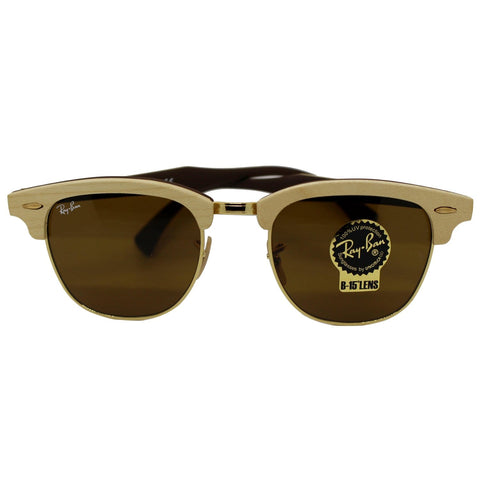 Ray-Ban RB3016M 1179 Clubmaster Wood Sunglasses Brown Classic B-15 Lens