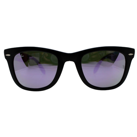 Ray-Ban RB4105 601S/4K Wayfarer Folding Black Sunglasses Lilac Mirror Lens