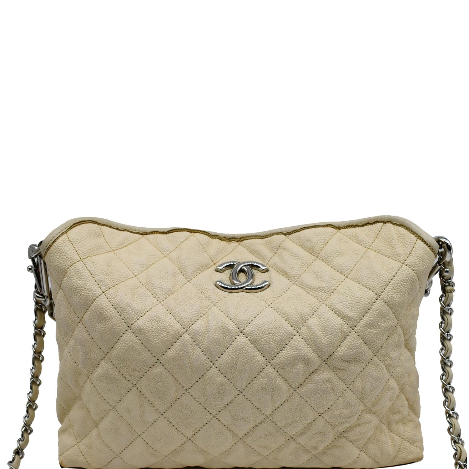 CHANEL French Riviera Quilted Caviar Leather Hobo Bag White