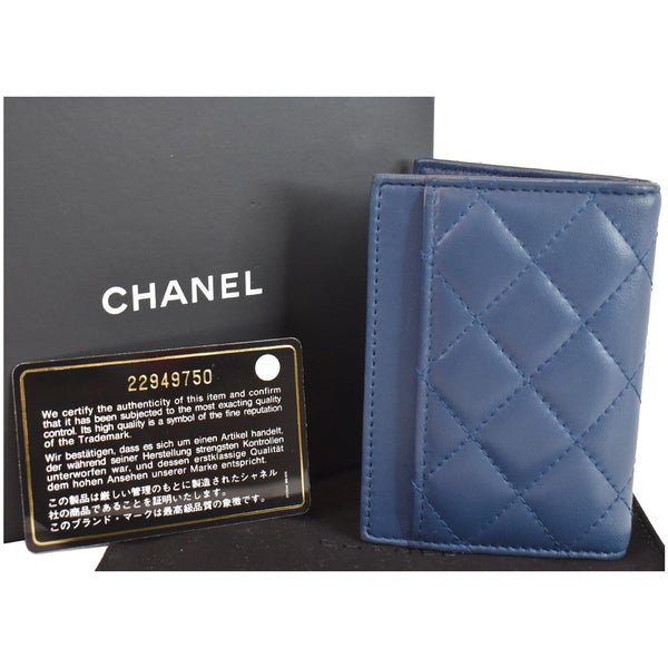 Chanel Classic Folded Leather Card Holder Wallet full front view