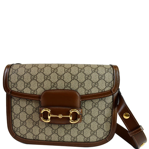 GUCCI Horsebit 1955 GG Supreme Canvas Shoulder Bag Beige 602204