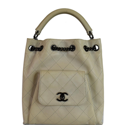 CHANEL Urban Luxury Drawstring Calfskin Stitched Backpack Bag Ivory