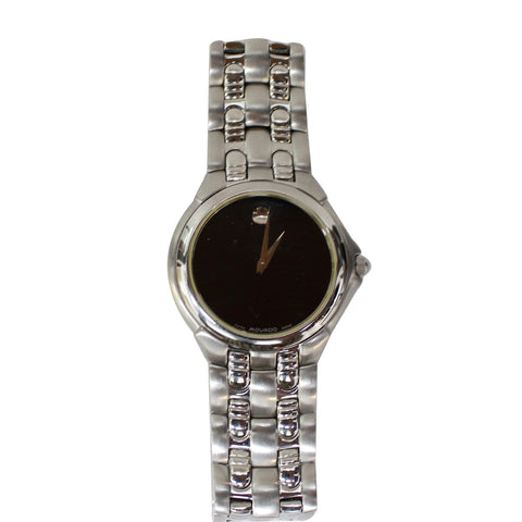 MOVADO Museum Stainless Steel Men's Dress Watch Black Dial 32MM