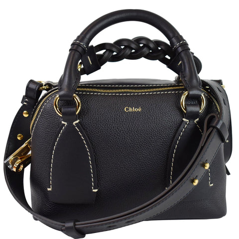 CHLOE Daria Small Classic Smooth Leather Crossbody Bag Black
