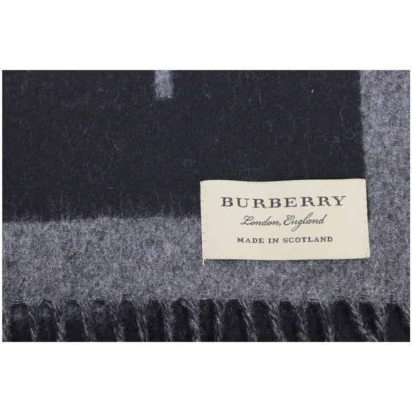 Burberry Scarf Logo Text Cashmere Black & Grey - price