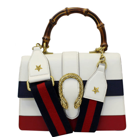 GUCCI Dionysus Medium Leather Top Handle Bag White