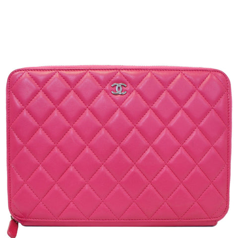 CHANEL Zip Around Lambskin Leather Large Organizer Wallet Pink