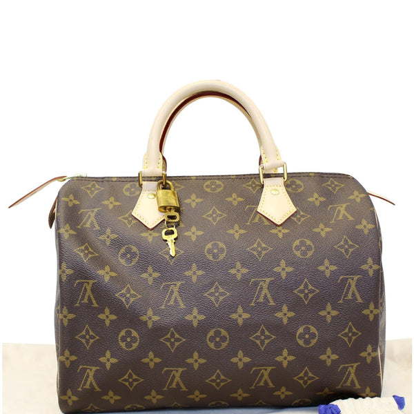 LOUIS VUITTON Speedy 30 Monogram Canvas Satchel Handbag Brown-US