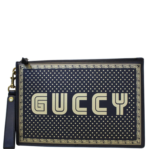 GUCCI GUCCY Star Print Leather Clutch Bag Black 510489 - 20% OFF