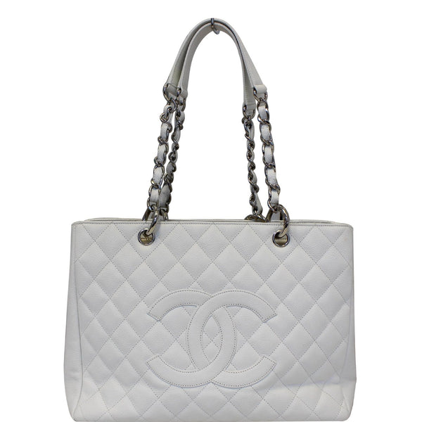 Chanel Tote Bag Grand Shopping Caviar Leather in White