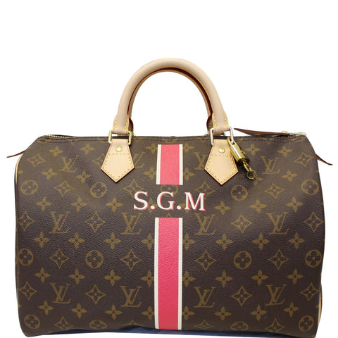 Louis Vuitton Speedy 35 Mon Monogram Canvas Satchel Bag Brown