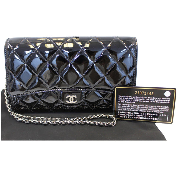 Chanel Flap Shoulder Bag Patent black Leather front view