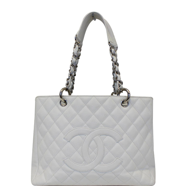 CHANEL Grand Shopping Quilted Caviar Leather Tote Bag White-US