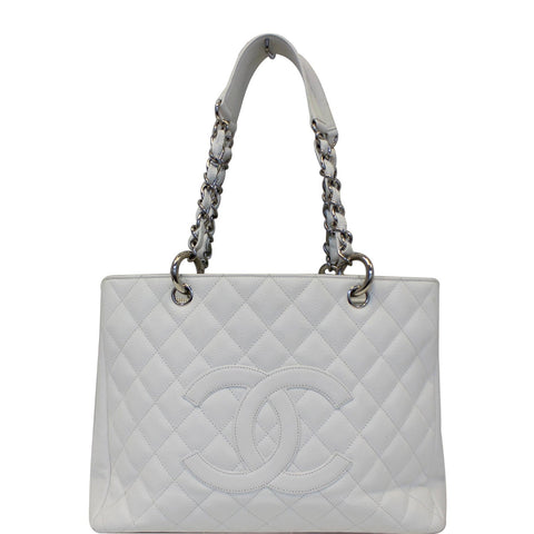 CHANEL Grand Shopping Quilted Caviar Leather Tote Bag White