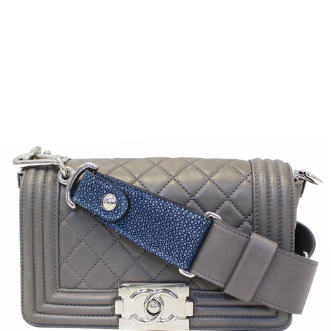 CHANEL Boy Flap with Stingray Lambskin Shoulder Bag Silver