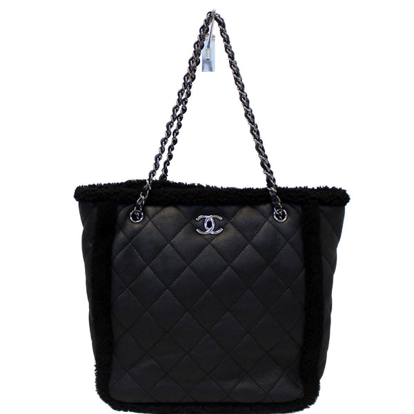 Chanel Tote Bag Cozy CC Shearling and Lambskin Black