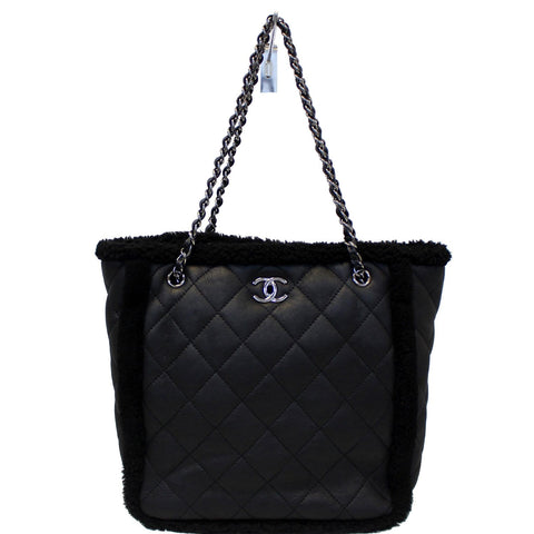 CHANEL Cozy CC Shearling and Lambskin Tote Bag Black
