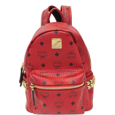 MCM Mini Stark Side Stud Backpack Bag Red