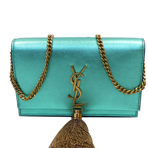 YVES SAINT LAURENT Small Kate Tassel Leather Crossbody Bag Teal