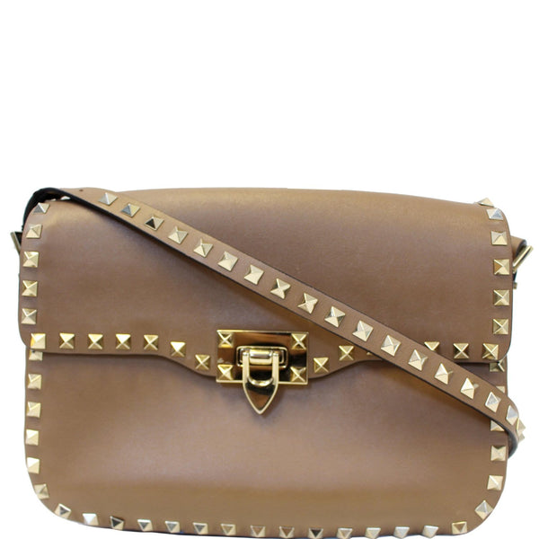 Valentino Rockstud Flap Leather Crossbody Bag Beige-US