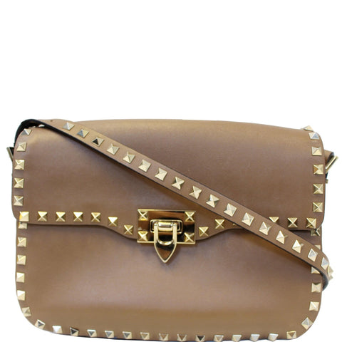 Valentino Rockstud Flap Leather Crossbody Bag Taupe