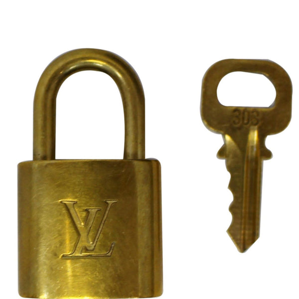 LOUIS VUITTON Padlock and 1 Key Gold Bag Charm Number 303