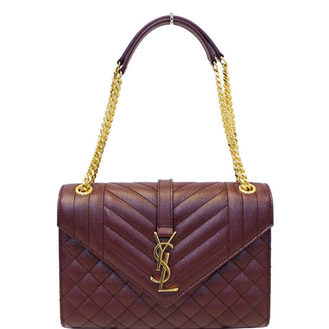 YVES SAINT LAURENT Envelope Medium Chain Shoulder Bag Burgundy
