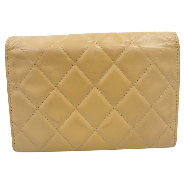 Chanel Cambon Flap Calfskin Quilted Wallet Beige back view