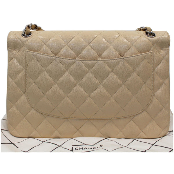 Chanel Jumbo Double Flap Caviar Leather Shoulder Bag Beige back view