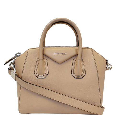 GIVENCHY Antigona Small Goatskin Leather Shoulder Bag Beige