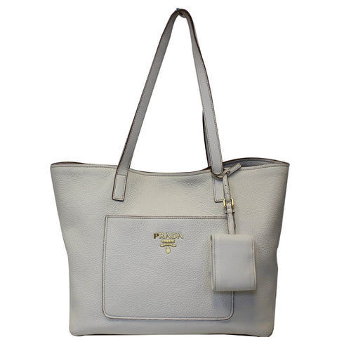 PRADA Large Vitello Daino Shopper Tote Bag White