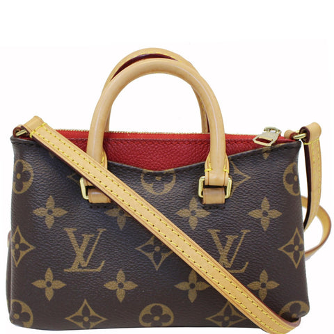 LOUIS VUITTON Nano Pallas Monogram Canvas Shoulder Crossbody Bag Brown