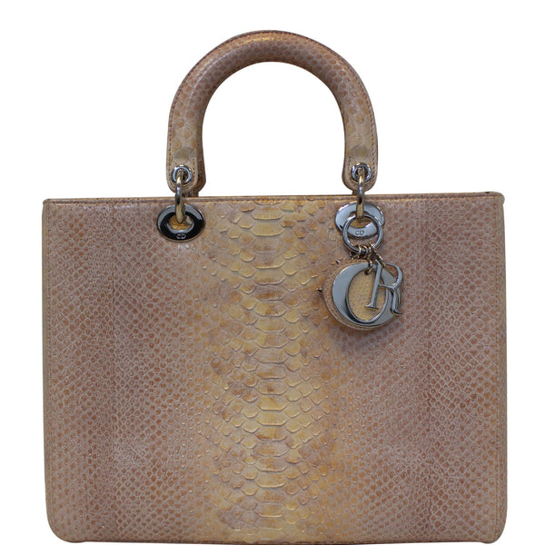 Christian Dior Lady Dior Large Python Shoulder Bag Blush Pink