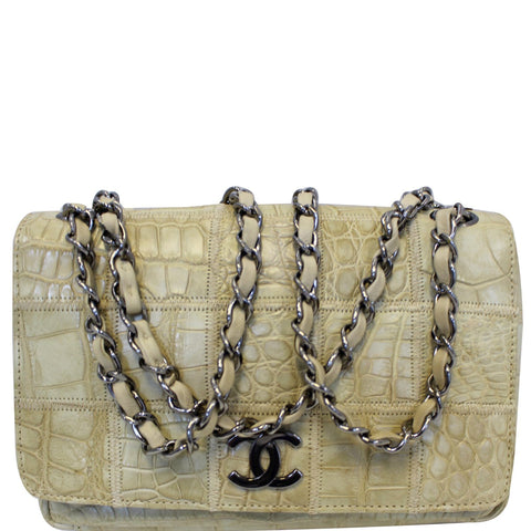CHANEL Crocodile Quilted Classic Flap Shoulder Bag Beige