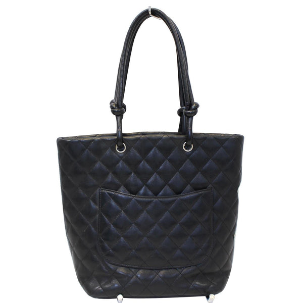Chanel Tote Bag Cambon Small Quilted Leather Black strap