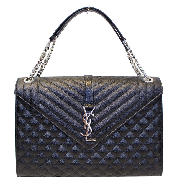 YVES SAINT LAURENT Envelope Large Matelasse Embossed Leather Shoulder Bag Black