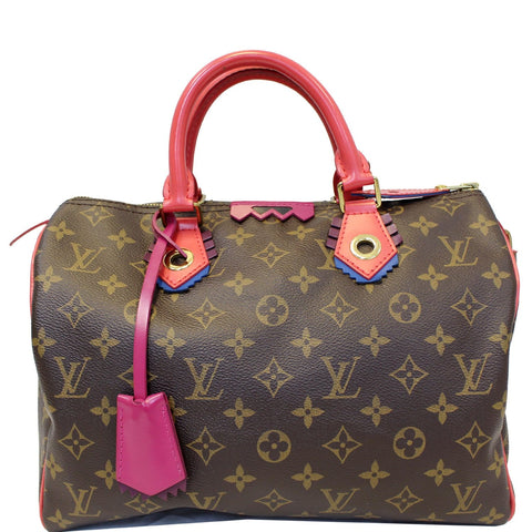 Louis Vuitton Totem Speedy 30 Monogram Canvas Satchel Bag Brown