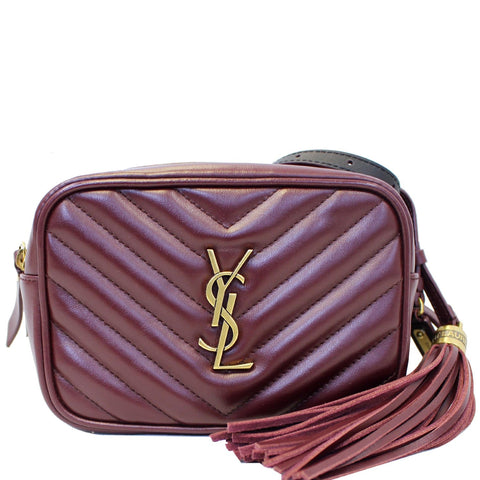 YVES SAINT LAURENT Chevron Lou Leather Belt Bag Burgundy