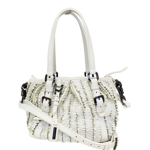 BURBERRY Ruffle Small Lowry White Leather Shoulder Bag