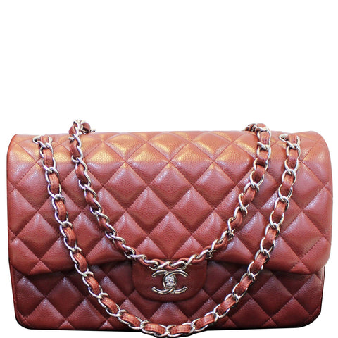 Chanel Jumbo Double Flap Caviar Quilted Shoulder bag Red