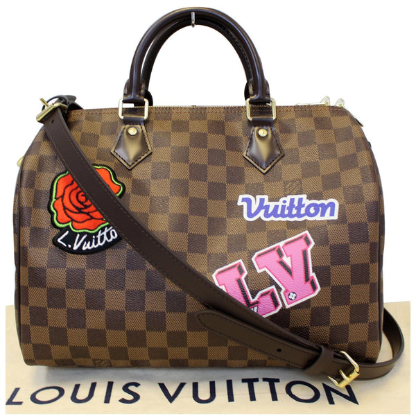 LV Speedy 30 Patches Damier Ebene Bag Front look
