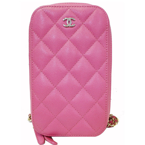 CHANEL Wallet On Chain WOC Caviar Leather Phone Holder Pink