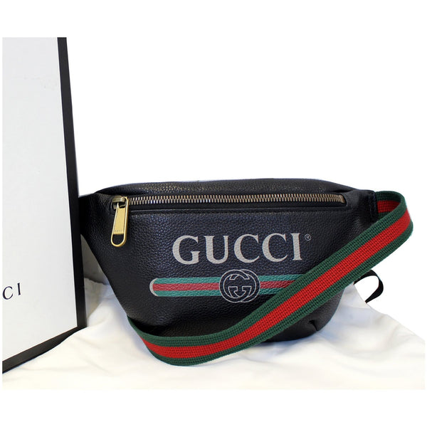 GUCCI Print Leather Black Belt Waist Bum Bag Small 527792-US