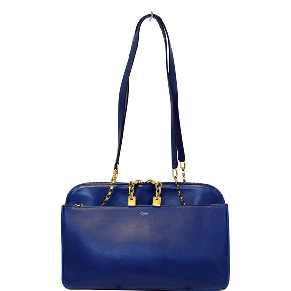 Chloe Shoulder Bag Lucy Medium Leather Blue - Used Chloe