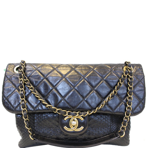CHANEL Urban Mix Flap Calfskin Python Shoulder Bag Black