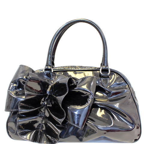 VALENTINO Garavani Lacca Bow Patent Leather Shoulder Bag Black