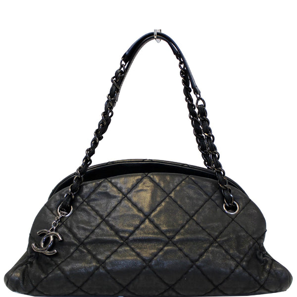 CHANEL Just Mademoiselle Calfskin Leather Bowling Bag Black
