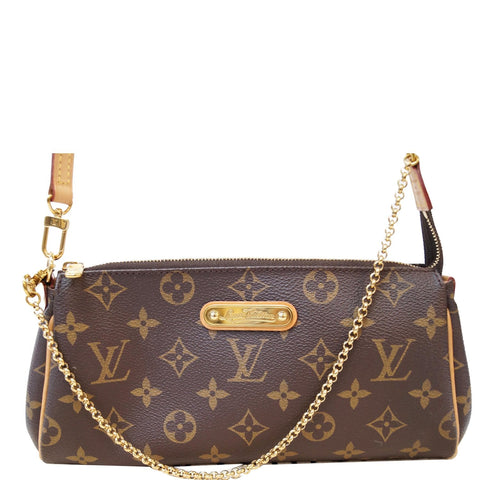LOUIS VUITTON Pochette Eva Monogram Canvas Clutch Crossbody Bag Brown