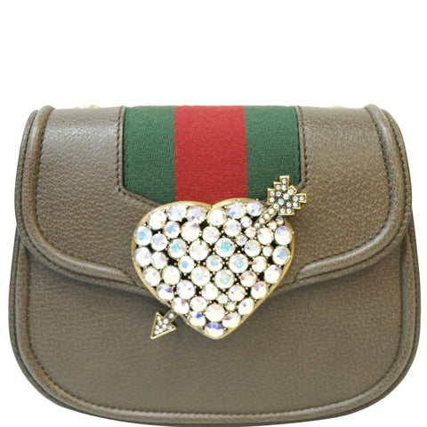 GUCCI Jeweled Heart Leather Totem Messenger Bag Brown 500756