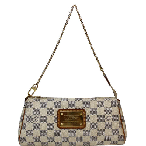 LOUIS VUITTON Pochette Eva Damier Azur Clutch Crossbody Bag White